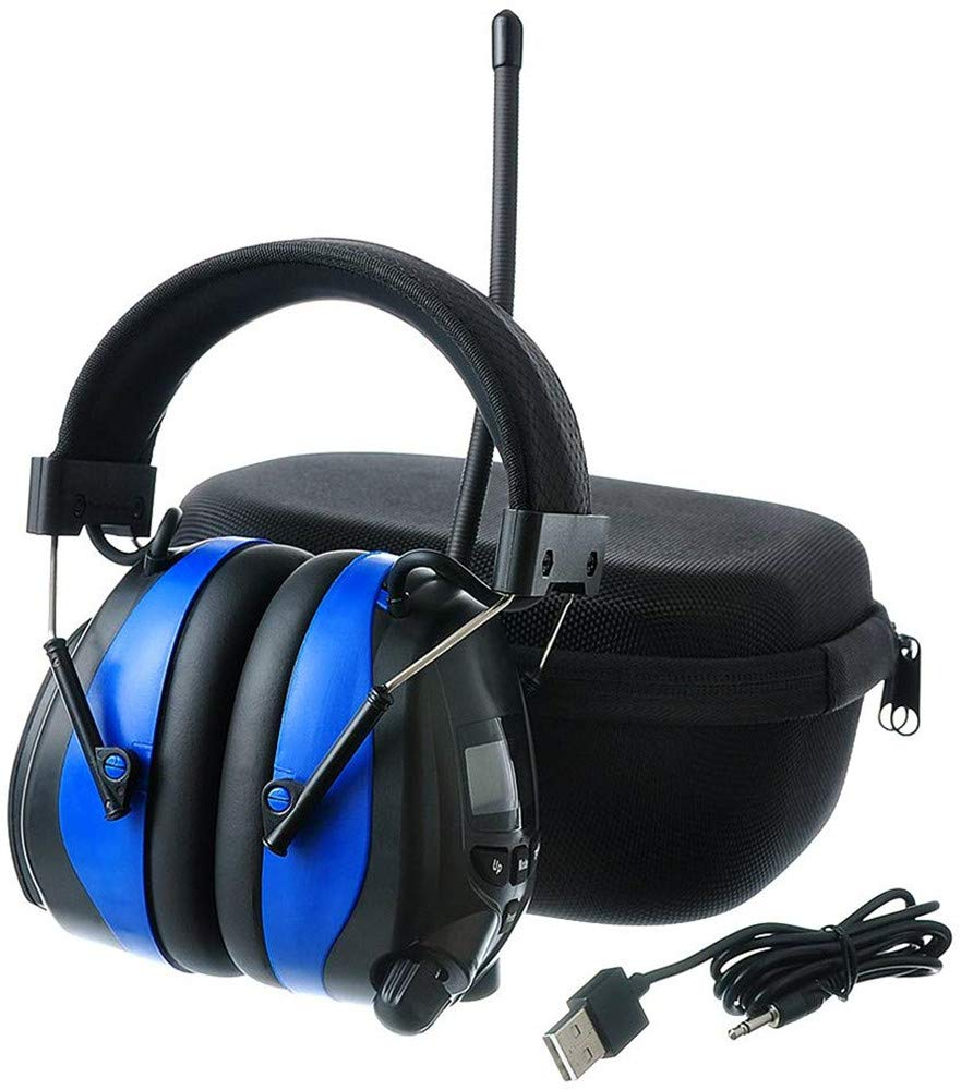 PROTEAR Bluetooth AM FM Radio Headphones with Rechargeable Battery, NRR 25dB Noise Reduction Safety Ear Muffs, Ear Hearing Protection for Lawn Mowing Outside Work,with a Carrying Case by PROTEAR
