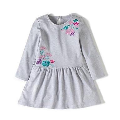 690822b611969 Backbuy Bébé filles enfants Robes Manches Longues Coton Automne-hiver  Fleurs brodées Vêtements 1-