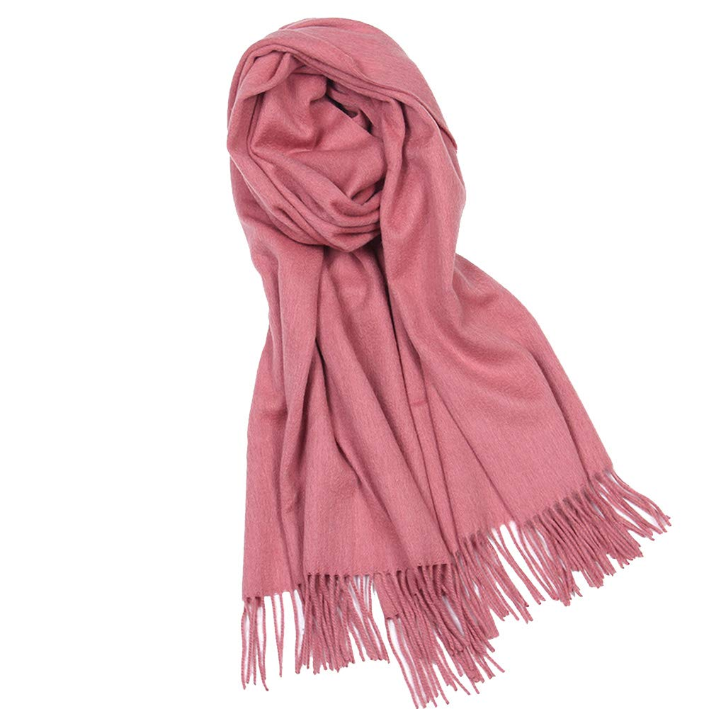 Rubber powder Women's AllMatch Scarf, Pure Wool Shawl, Autumn and Winter Thickening Scarf, 70x200cm (color   pink red)
