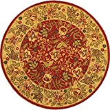 Safavieh Chelsea Collection HK140C Hand-Hooked Red and Ivory Premium Wool Round Area Rug (8' Diameter)