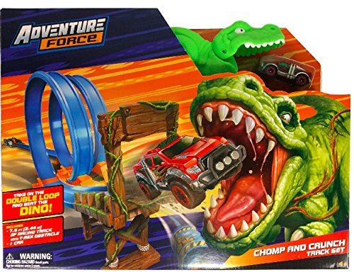 Double Loop Dino Chomp Racing Track Set - T Rex Obstacle