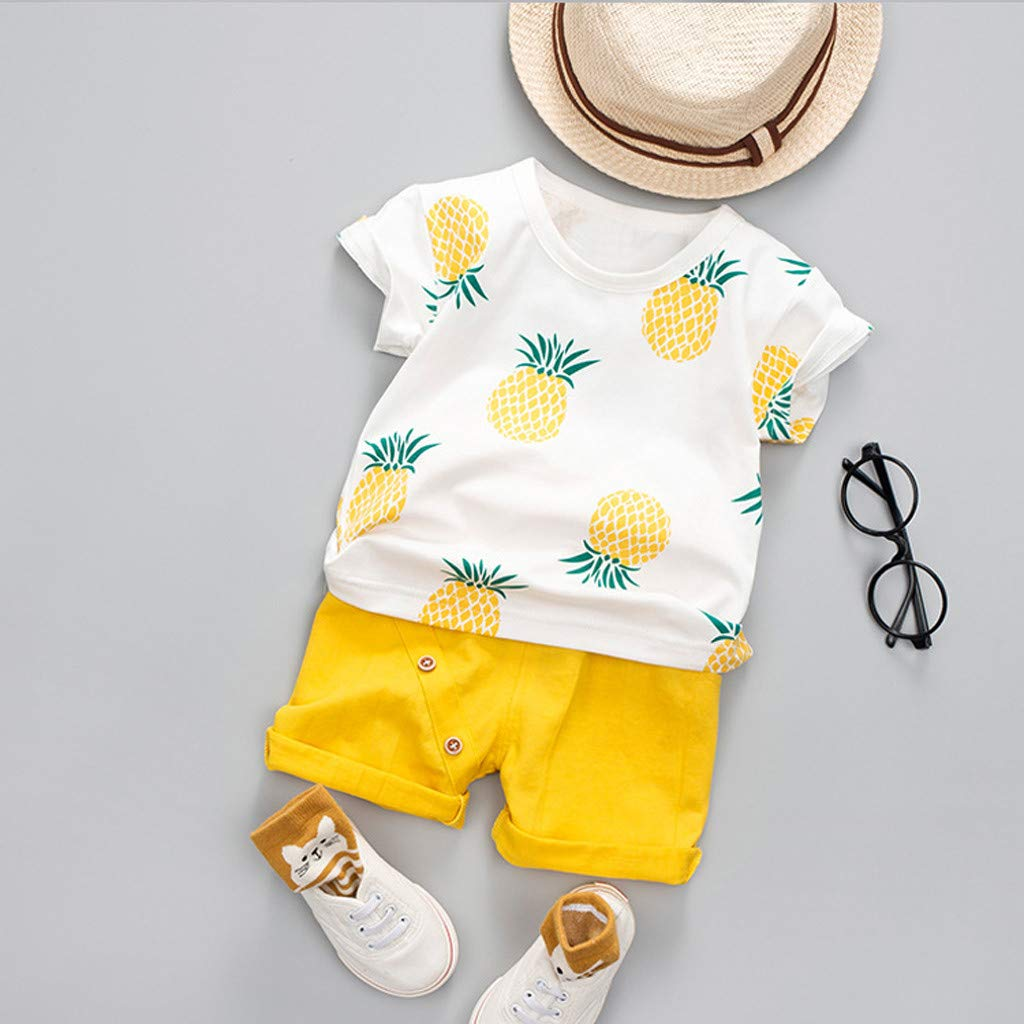 Toddler Baby Kids Boys Pineapple T-Shirt Tops Solid Short Casual Outfit Set by Sunsee (Image #3)