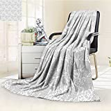 AmaPark Digital Printing Blanket Grey Islamic Art Inspired Oriental Turkish Lace with Impression White Summer Quilt Comforter