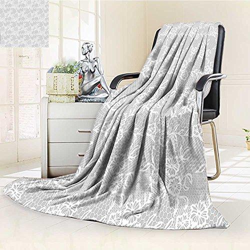 AmaPark Digital Printing Blanket Grey Islamic Art Inspired Oriental Turkish Lace with Impression White Summer Quilt Comforter by AmaPark