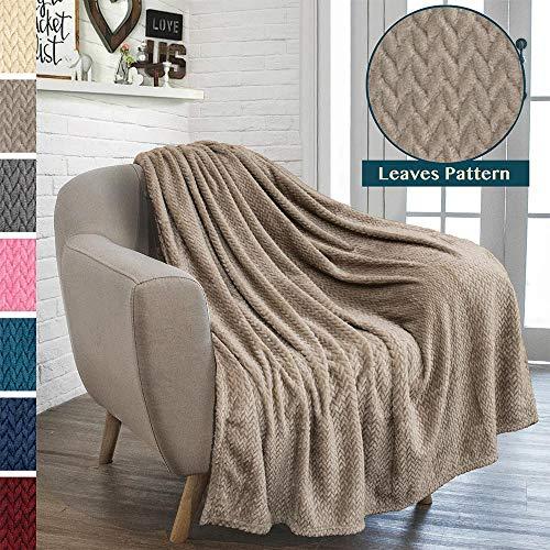 PAVILIA Luxury Soft Plush Taupe Throw Blanket for Sofa, Couch | Silky Velvet Fleece Chevron Pattern Throw | Cozy Lightweight Microfiber, Reversible Blanket | All Season Use | 50 x 60 Inches