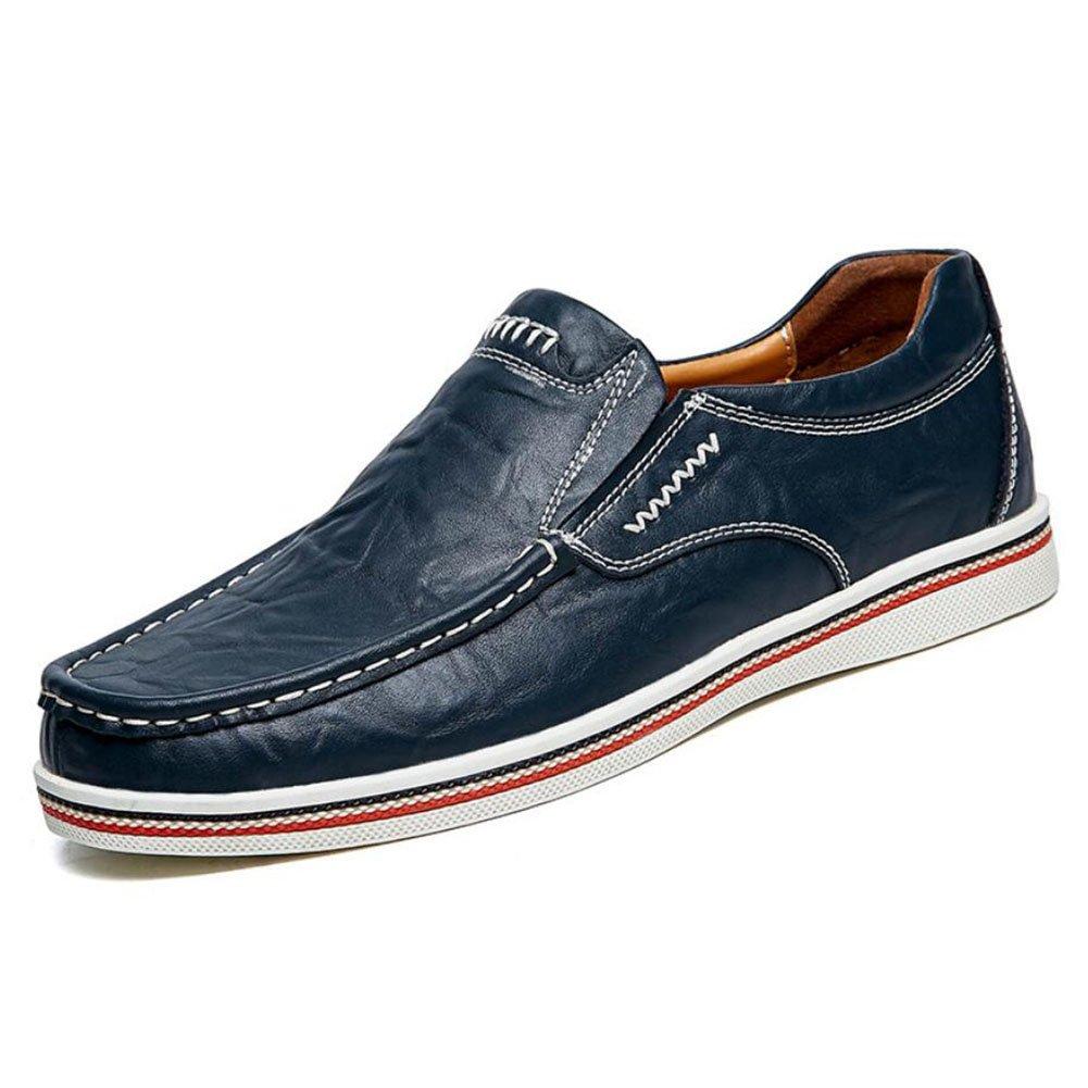 CAI Herrenschuhe Echtes Leder Leder Schuhe Sommer/Herbst/Winter Komfort Loafers  SlipOns Schwarz/Blau/Braun Herren Driving Shoes/Loafers (Farbe : Blau  Größe : 41) Blau