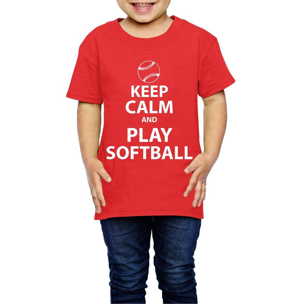 XYMYFC-E Keep Calm and Play Softball Iconic Graphic 2-6 Years Old Children Short-Sleeved Tee Shirts