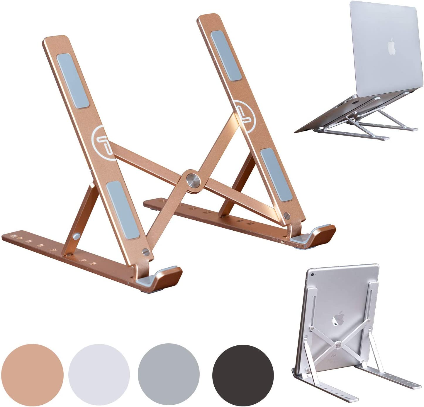 Portable Laptop Stand Foldable Aluminum Adjustable Laptop Stand for Desk with 7 Angle Adjustable Stand for MacBook Air, MacBook Pro, iPad and Tablet, Laptop. (Gold) (Rose Gold)