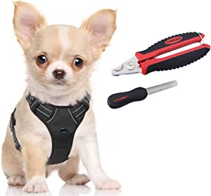 rabbitgoo Dog Harness & Dog Nail Clippers with File Set - Adjustable No Pull Dog Vest with Leash Clips(S) | Safety Pet Nail Trimmer Cat Claw Grooming Tool Painless Paw Scissors(Black Red)