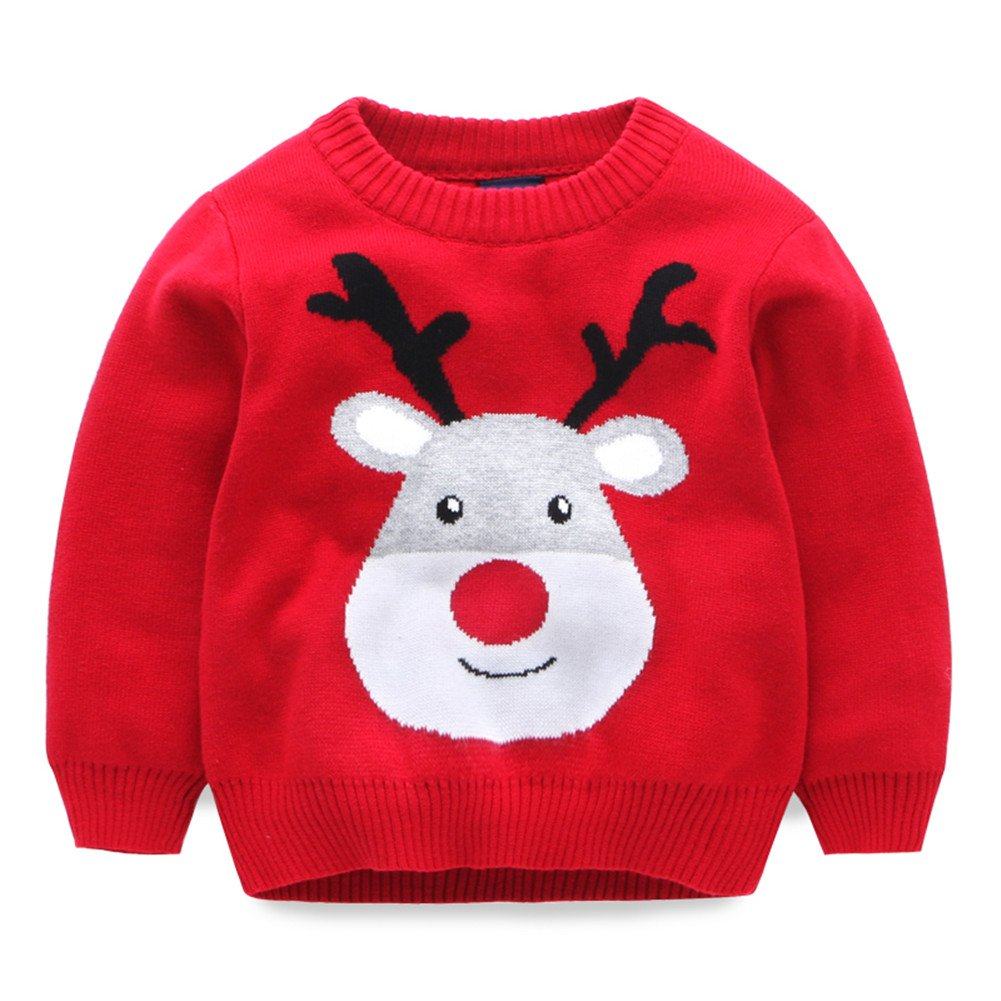 Mud Kingdom Boys Girls Christmas Deer Knit Sweater Pullover SS0554