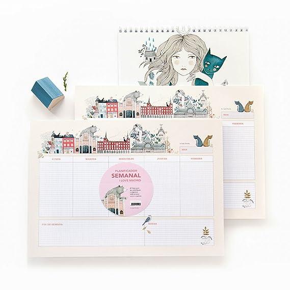 Cuquiland I Love Madrid by Lady Desidia - Planificador semanal de mesa, A4, 21 x 29.7 cm, 120 páginas