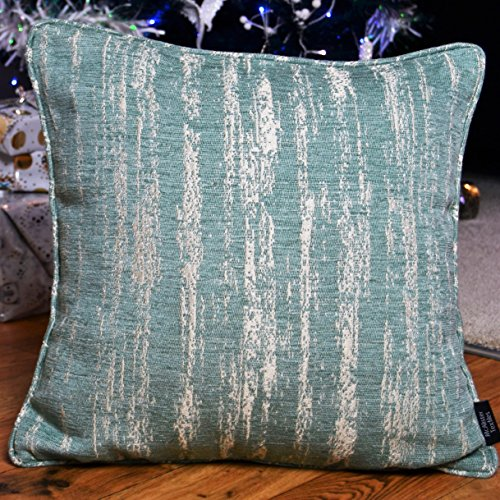 McAlister Textured Chenille 24″ Decor Pillow Cover | Pale Turquoise Blue Zip 24×24 Euro Sham Case | Soft Chenille Velvet Linen | Metallic Modern Rustic Accent