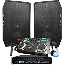 "Complete Dj System - 3100 WATTS - Connect your Laptop, iPod, USB, MP3's or Cd's! 12"" Speakers, Amp, Mixer/Cd Player, Mic, Headphones."
