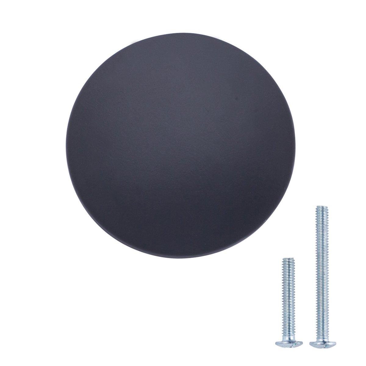 AmazonBasics Round Flat Cabinet Knob, 1.37'' Diameter, Flat Black, 10-Pack
