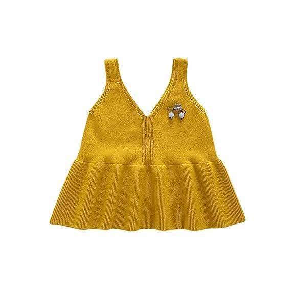 JYC Vestido para Niñas, Vestido para Bebés, Niñito Infantil Bebé Chicas Sin Mangas Arco Puro Color Chaleco Princesa Vestir: Amazon.es: Ropa y accesorios