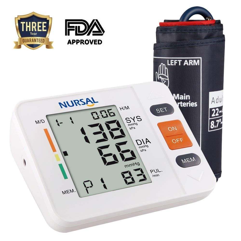 NURSAL Upper Arm Digital Blood Pressure Monitor with WHO Indicator and Large LCD Screen for 2 Users(2 * 90 Storage), FDA Certified Automatic Electronic Blood Pressure Monitor (Bracelet 22 cm¨C42 cm)