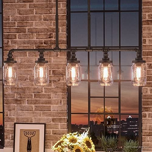 Luxury Industrial Chandelier, Large Size 19.25 H x 38 W, with Shabby Chic Style Elements, Aged Pipe Linear Design, Antique Black Finish and Mason Jar with Floral Pattern, UQL2664 by Urban Ambiance