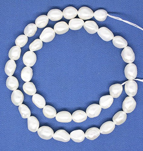 (8-9mm*11-12mm natural white baroque pearl loose beads gem 15