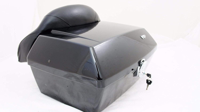 Large Black Mutazu Universal motorcycle trunk DMY box with Wrap Around Backrest