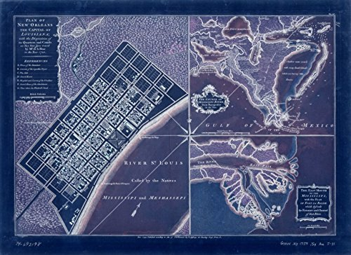 18 x 24 Blueprint Style Reproduced Old Map of: 1759Plan of New Orleans the capital of Louisiana; with the disposition of its quarters and canals as they have been traced - Orleans New Canal