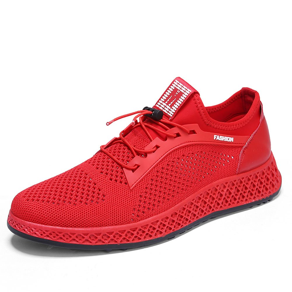 CJZHE Men's Sports Running Basketball Shoes Convenient Elastic Buckle Breathable Casual Shoes (10 B (M) US, Red)