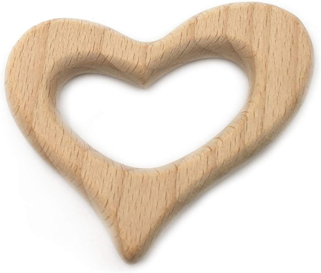 Amyster 2pcs Lovely Cartoon Wood Teether Pure Natural Animal Heart Shape Baby Teething Nursing Beech Teether Baby DIY Pendant Toy C048-2PCS