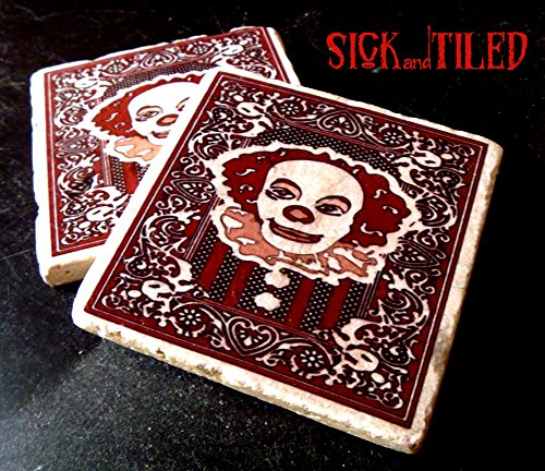 Drinktime With Pennywise Tumbled Marble Coaster Set of 2 Stephen Kings IT