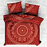 Exclusive King Size Red Ombre Mandala DUVET COVER WITH PILLOWCASES By ''Sophia Art, Indian Duvet Doona Cover King Size Cover Boho Bedding Set Blanket