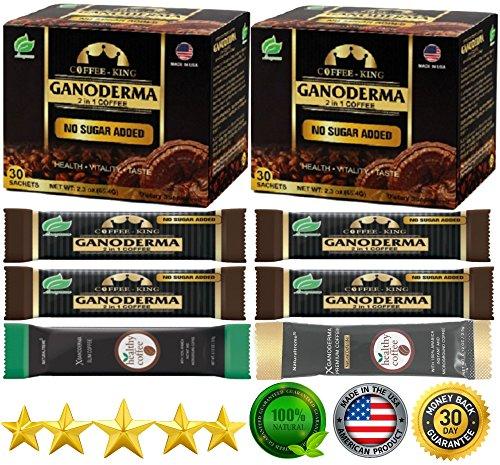 Ganoderma Lucidum Coffee - PureGano Premium Ganoderma Black Instant Coffee - 180mg Red Reishi Mushroom Lingzhi Lucidum Extract 2 in 1 Sugar Free - 2 Boxes + 6 Bonus Samples - 66 Sachets Total
