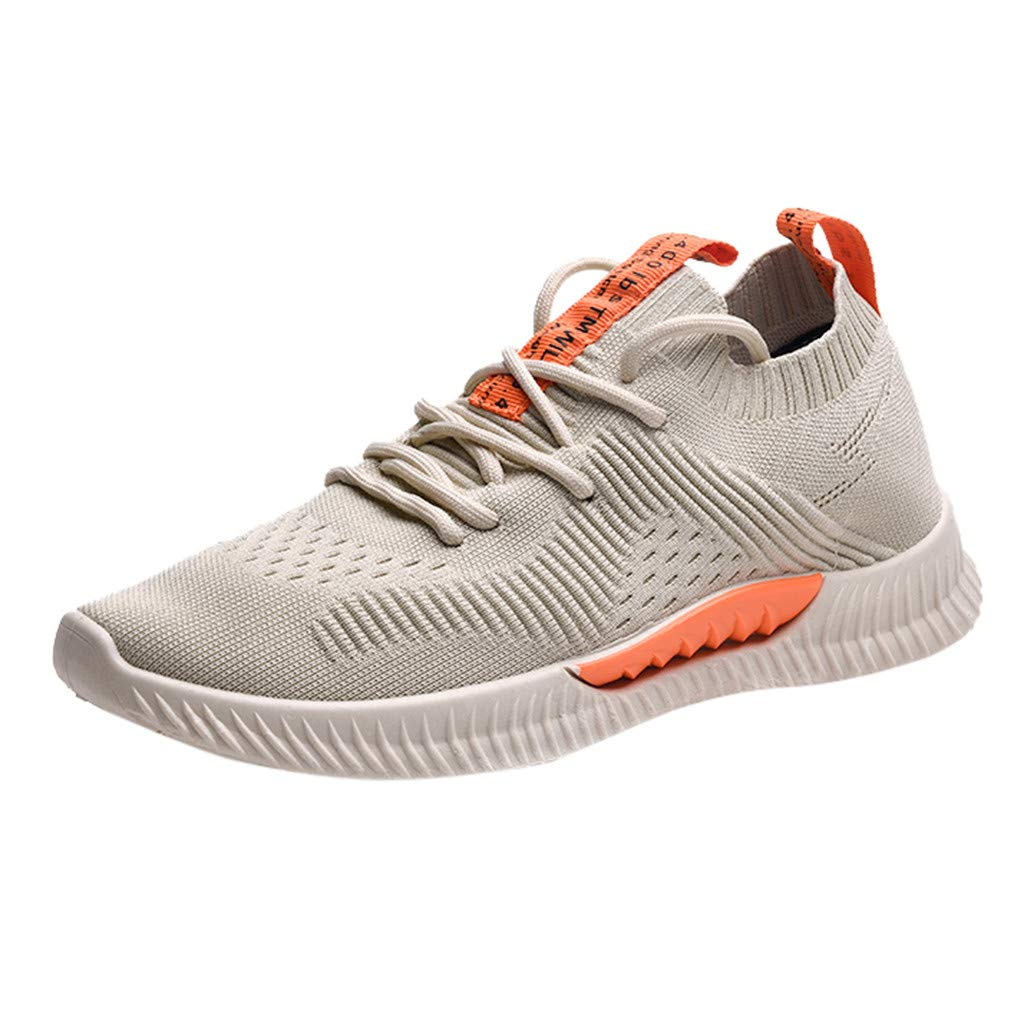 Men's Running Sneakers Summer Athletic Outdoors Sport Jogging Shoes Casual Breathable Lightweight Lace-Up Knit Shoe (Beige, US:7) by Cealu