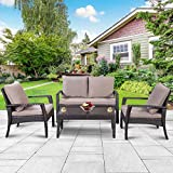 Cheap TANGKULA 4 Piece Patio Furniture Outdoor Patio Deck Lawn Poolside Wicker Rattan Steel Frame Sectional Conversation Sofa Set Glass Top Coffee Tea Table and Chairs Set with Removable Cushions
