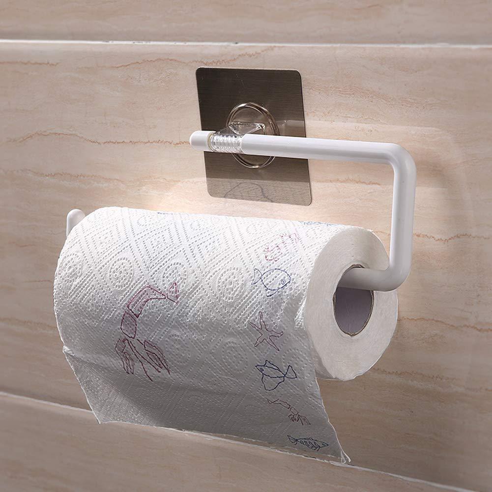 Toallero de papel de cocina montado en la pared - No necesita taladrar toallero de baño - Soporte de papel de pared para toallas de papel hecho de acero ...