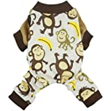 Fitwarm Soft Cotton Adorable Monkey Dog Pajamas Shirt Pet Clothes, Brown