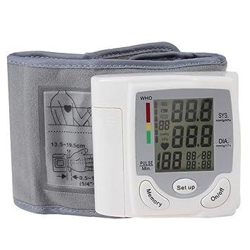 Tensiómetro De Muñeca,Con Detección De Pulso De Frecuencia Cardíaca, 90 Entradas De Memoria, Esfigmomanómetro De Pantalla Grande LCD: Amazon.es: Hogar