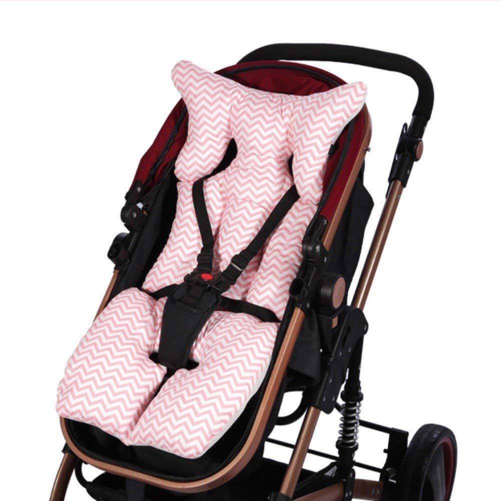 Baby Stroller Pram Pushchair Universal Seat Liners, Breathable Cotton Stroller Pads Seat Warm Cushion Mats Pillow with Summer and Winter Sides (Pink) BETTERLE