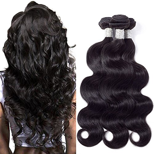 BK Beckoning Hair 3 Bundles Brazilian Body Wave 20 22 24 Inches Mixed Length Human Hair Weave Natural Color Brazilian Virgin Hair Extensions Thick End No Split