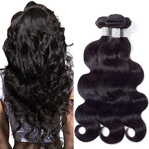 BK Beckoning Hair 3 Bundles Brazilian Body Wave 20 22 24 Inches Mixed Length Human Hair Weave Natural Color Brazilian Virgin Hair Extensions Thick End No Split