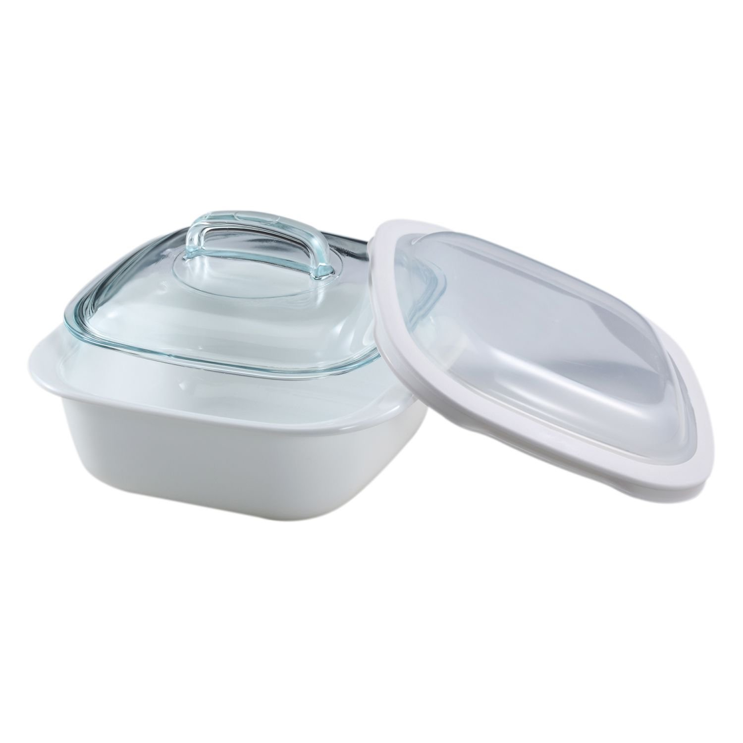 Corelle Bake, Serve, Store 1.5-qt Square Bakeware Dish w/Glass & Plastic Covers 1107597
