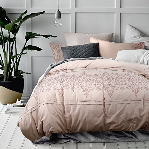 Simply Gorgeous 100% Cotton Embroidered Duvet Cover Set with Two Pillow Cases, Grey Pink Color, Full/Queen; W112