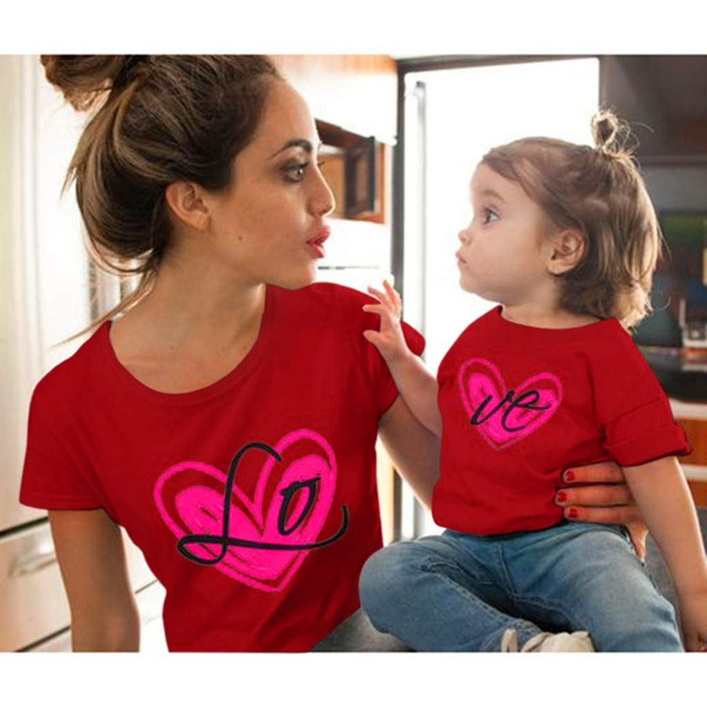Love Print Short Sleeve Mother Daughter Matching T-Shirt Tops for Mothers Day Mommy and Me