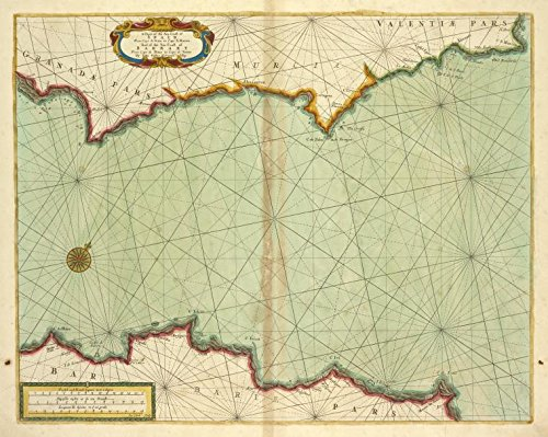 Historic 1702 Map | A chart of the sea coast of SPAIN from cape de Gata to cape S. M | Antique Vintage Map Reproduction by historic pictoric