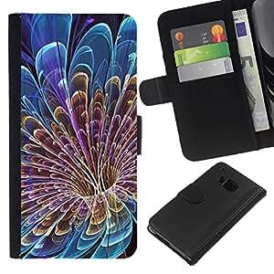 HTC One M9 , la tarjeta de Crédito Slots PU Funda de cuero Monedero caso cubierta de piel ( Floral Petal Vortex Mysterious Blue)