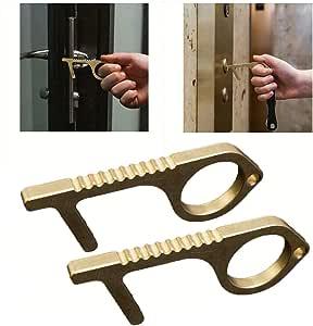 Contactless Safety Door Opener, Skoye Keep Hands Clean, Yellow, Push The Elevator Button Open, Brass Door Opener Protection, Lightweight (2pc)