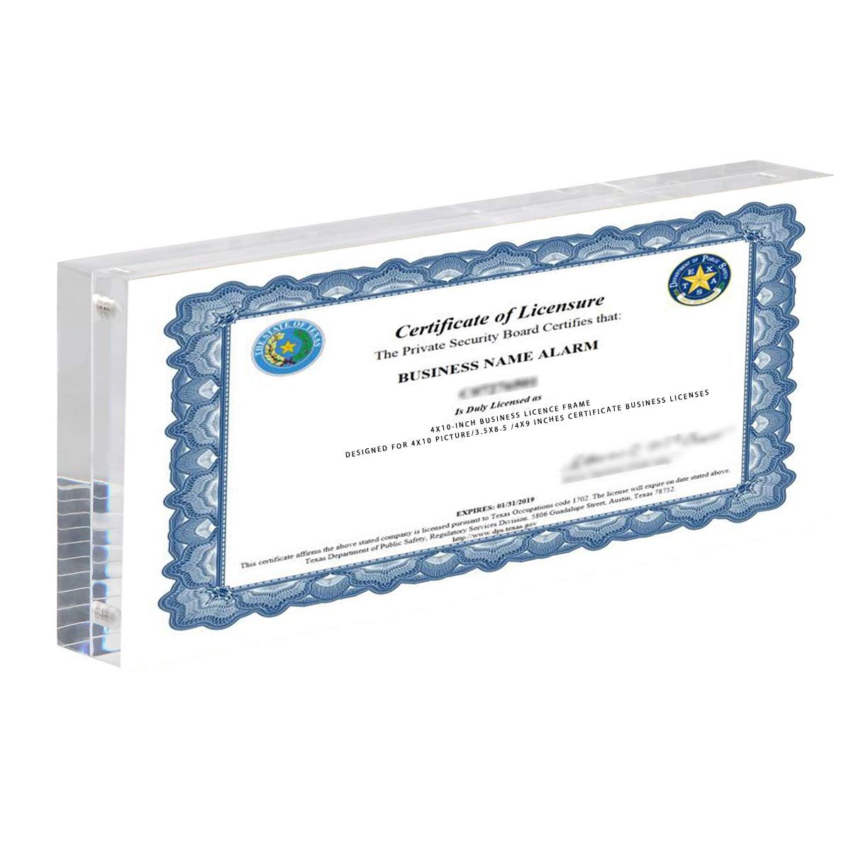 CY craft Acrylic Business License Frame for 4x9 Business License Certificate Desk/Table Top Display,Clear Panoramic Photograph Picture Frame(Full Frame 4x10 Inch),Pack of 1 by CY craft