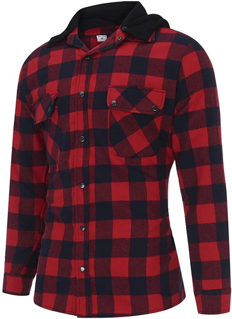 SPE969 Mens Checked Full-Zip Hoodie,3 Colors Splicing Hooded Business Leisure Retro Long-Sleeved Shirt Top Blouse