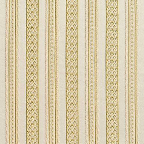 B0710D Gold and Light Green Striped Damask Brocade Upholstery Fabric by The Yard