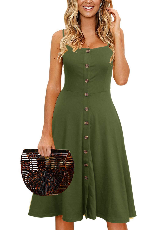 Womens Casual Beach Summer Dresses Solid Cotton Flattering A-Line Spaghetti Strap Button Down Midi Sundress