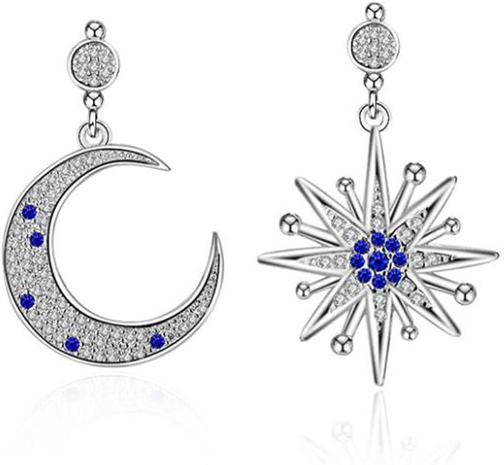 Pendientes colgantes con forma de estrella y de luna de plata de ley 925 de Hanie, con zafiro, circonita cúbica y piezas de Swarovski