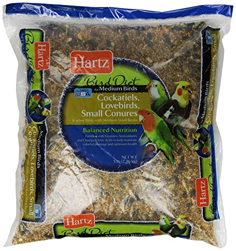 Hartz Cockatiel, Lovebird, Small Conure Medium Bird Food -5Lb