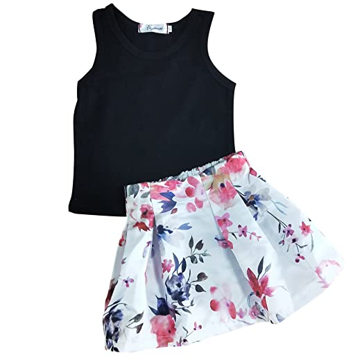 f95726fe72645 SWNONE Baby Girl Clothes Outfit Floral Skirt +Vest Tops Summer Cotton Black  Tank Clothes